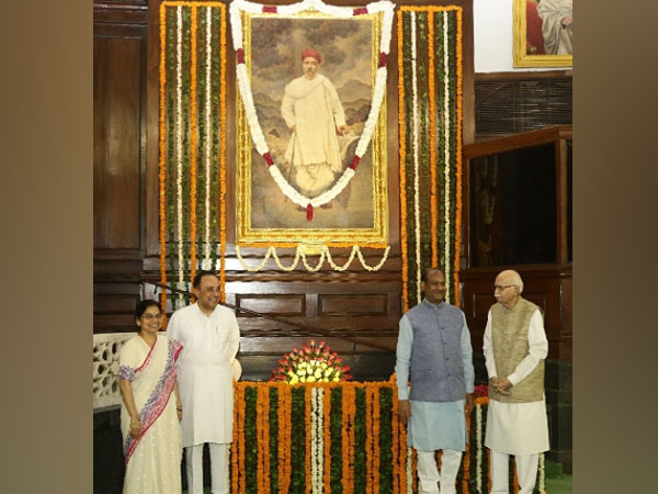 Bal Gangadhar Tilak's portrait in the central hall of Parliament. Photo/ANI