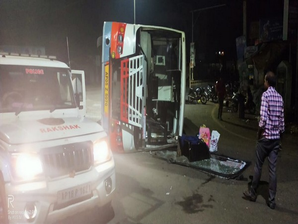 A bus overturned at 2 am on Friday near Kakinada in which no casualties were reported. Photo/ANI