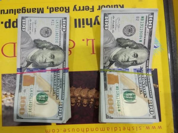 The foreign currency detected during security check by CISF at Mangalore airport on Monday. Photo/ANI