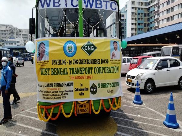 Visual of inauguration of First public CNG bus of Kolkata (Photo/ANI)