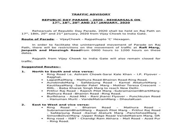 The traffic advisory for Republic Day rehearsal