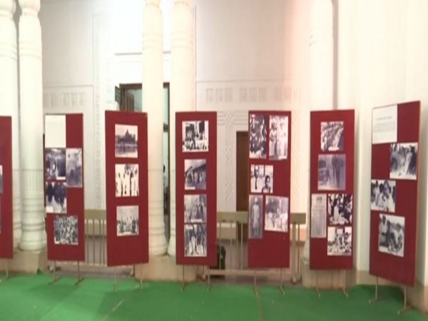 Rare black and white pictures of Dr BR Ambedkar displayed at Osmania University in Hyderabad. Photo/ANI