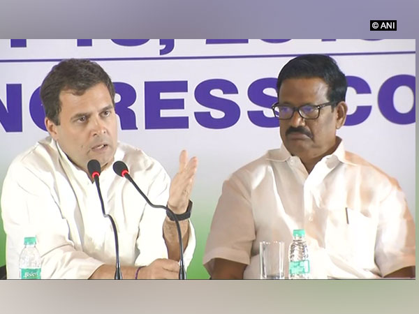 Congress President Rahul Gandhi addressing a press conference in Chennai on Wednesday Photo/ANI
