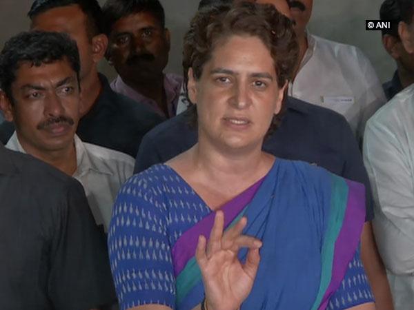 Congress leader Priyanka Gandhi talking to reporters in Ayodhya on Wednesday. Photo/ANI