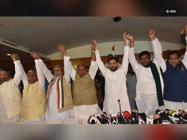 Grand-Alliance leaders during a press conference in Patna on Friday. Photo/ANI