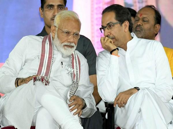 Prime Minister Narendra Modi and Shiv Sena chief Uddhav Thackeray at a rally in Maharashtra on April 27. (Photo/ANI)