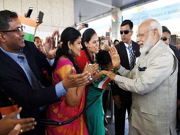Prime Minister Narendra Modi receives a warm welcome by the Indian community in Male, Maldives, on Saturday.(Photo/ANI)