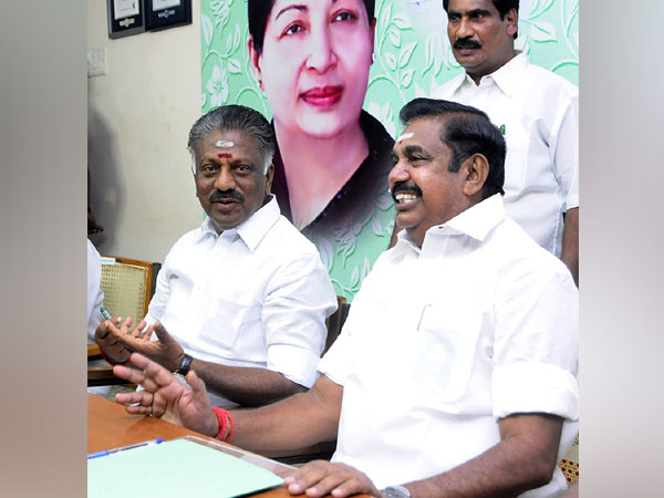 Chief Minister and AIADMK co-coordinator Edappadi K Palaniswami and Deputy Chief Minister and coordinator O Panneerselvam addresses a party meeting in Chennai on Wednesday. (Photo/ANI)