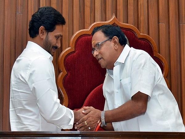 Andhra Pradesh Chief Minister YS Jagan Mohan Reddy (left) and Assembly Speaker Tammineni Sitaram (right)