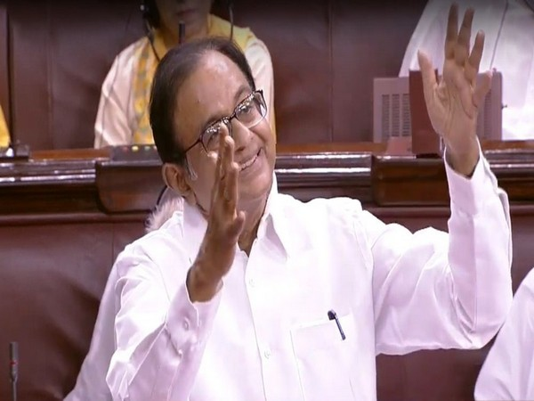 Former Finance Minister P Chidambaram speaking in Parliament on Thursday. Photo/ANI