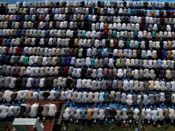 Muslim devotees offering prayers on the occasion of Eid al-Adha in Srinagar on Monday. Photo/ANI