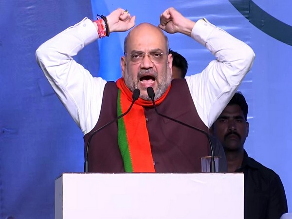 Home Minister Amit Shah during a rally in Solpur, Maharashtra, on Sunday. Photo/ANI