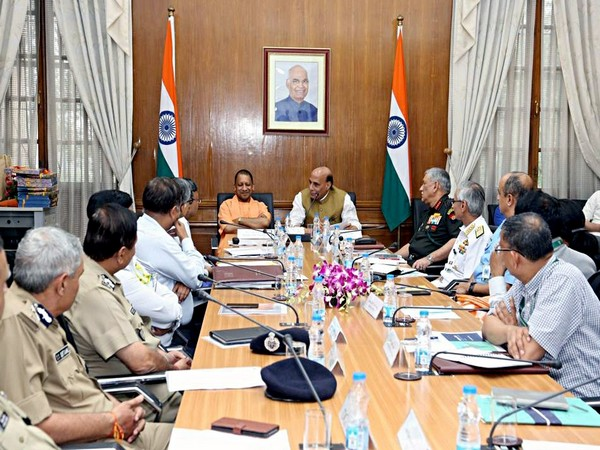 Defence Minister Rajnath Singh, Uttar Pradesh Chief Minister Yogi Adityanath at a meeting to review the preparation for the 11th edition of Defence Expo. (Photo/ANI)