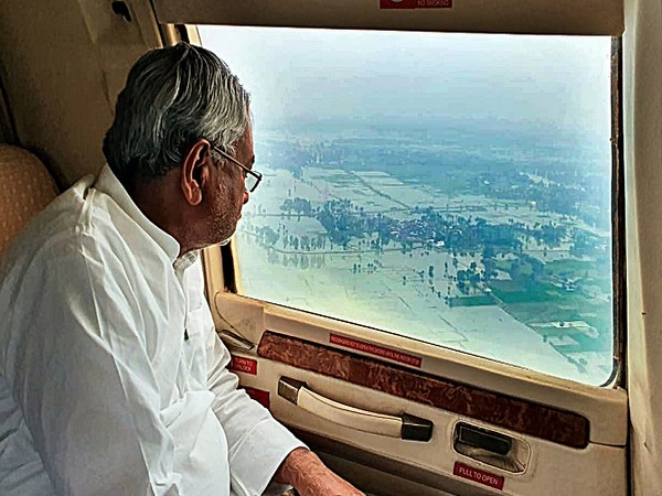 Chief Minister Nitish Kumar had taken an aerial survey of the flood-affected areas in the state on October 4. Photo/ANI