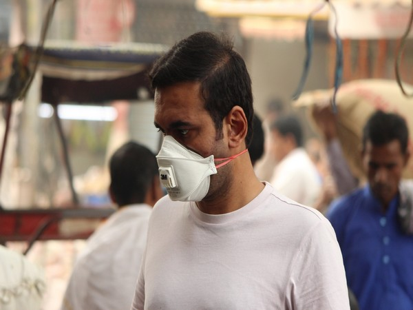 A man wearing a face mask due to heavy pollution in New Delhi (file image)