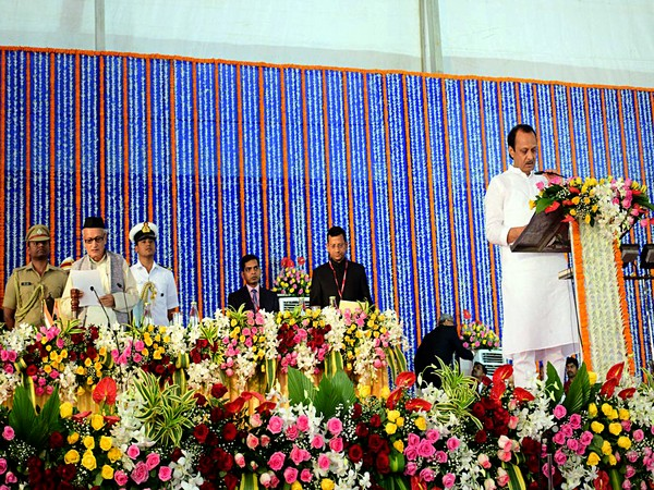 NCP Leader Ajit Pawar takes an oath as a Deputy Chief Minister of Maharashtra during the swearing-in ceremony for State cabinet expansion at Vidhan Bhavan (File Image)