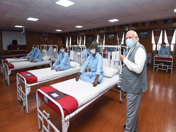 Prime Minister Narendra Modi addressing the soldiers at hospital in Leh on Friday.