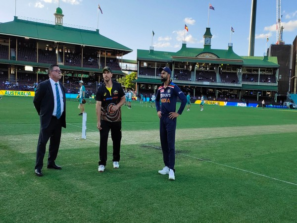 Aaron Finch spins the coin at the toss (Photo: BCCI twitter)