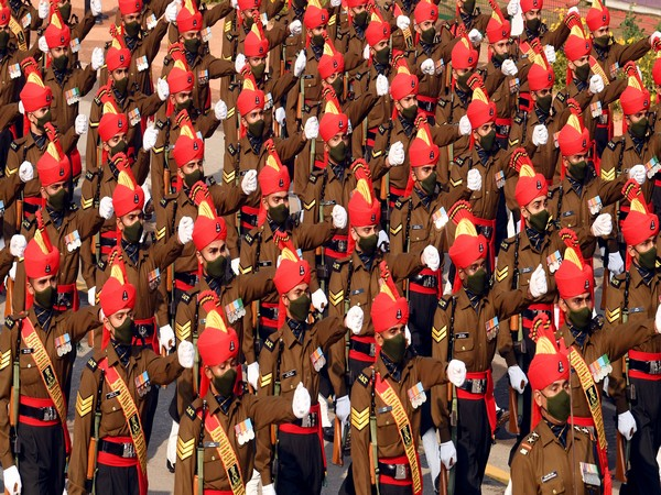 Indian army's jat regiment marches as they take part in the 72nd republic day parade (Photo/ANI)