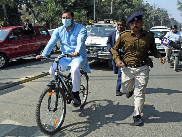 Tejashwi Yadav riding bicycle on Friday.