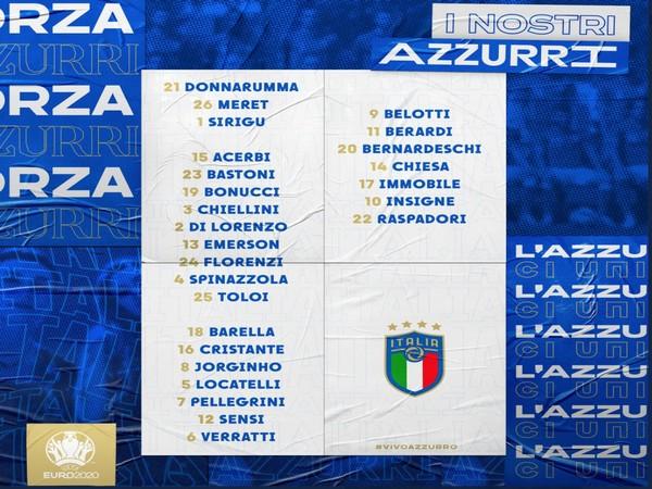 Italy's Euro 2020 squad. (Photo/ Italian football team twitter)