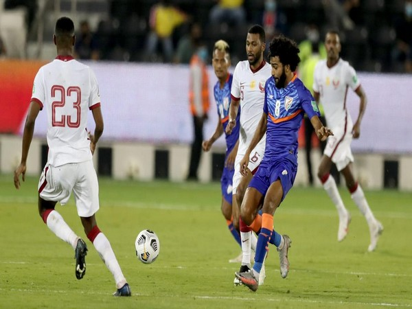 India in action against Qatar. (Photo/ AIFF twitter)