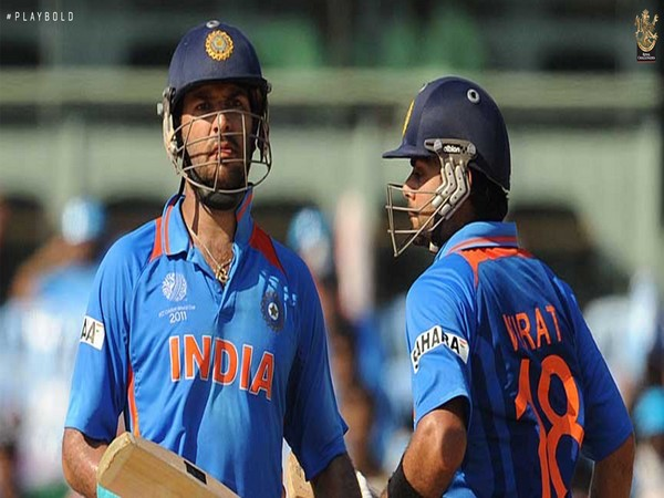 Yuvraj Singh with Virat Kohli during the 2011 World Cup. (Photo/ RCB twitter)