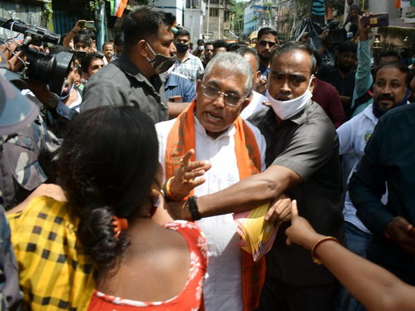 BJP national vice president Dilip Ghosh during an election campaign in Bhabanipur (Photo/ANI)