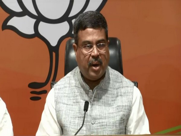 Union Minister Dharmendra Pradhan addressing a press conference in football games for pc download on Sunday. [Photo/boylesports live]