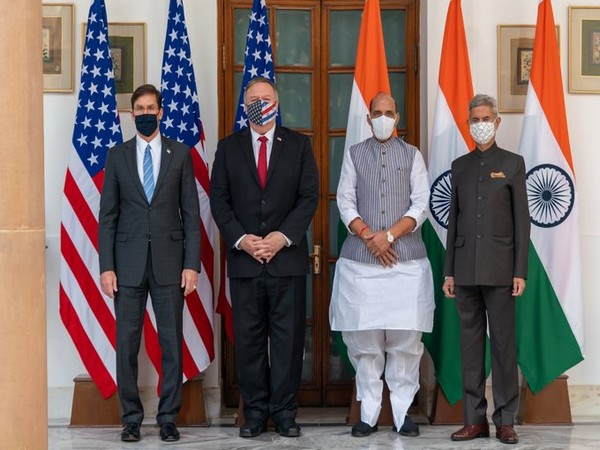 US Defence Secretary Mark T Esper, US State Secretary Mike Pompeo, Defence Minister Rajnath Singh and External Affairs Minister S Jaishankar