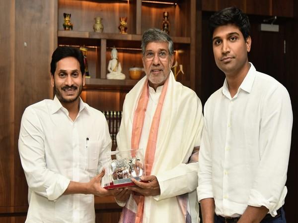 Noble peace prize awardee Kailash Satyarthi meets Andhra Pradesh Chief Minister YS Jagan Mohan Reddy at Assembly on Tuesday. Photo/ANI