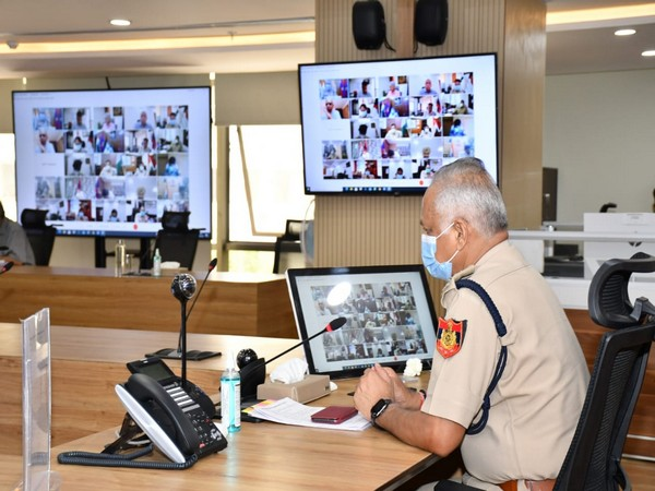 Delhi Police Commissioner at a post-lockdown law and order meeting. (Photo/ANI)