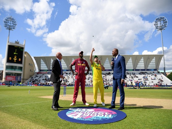 Jason Holder and Aaron Finch at toss during Australia-Windies match at 2019 World Cup (Photo/ Cricket Australia Twitter)