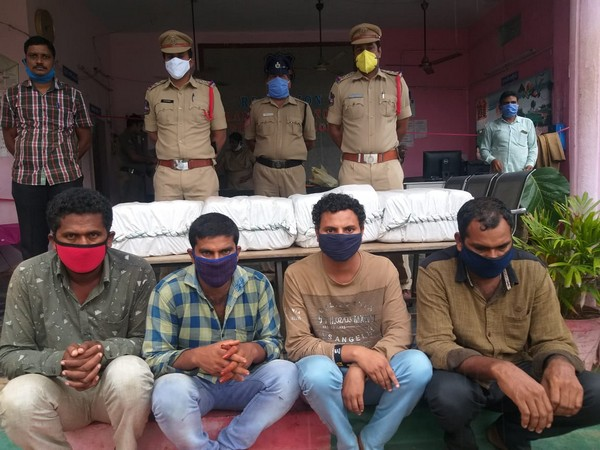 Police seizes Ganja worth over Rs 10 lakh in Telangana's Bhadradri Kothagudem dist, 4 persons have been arrested (Photo/ANI)