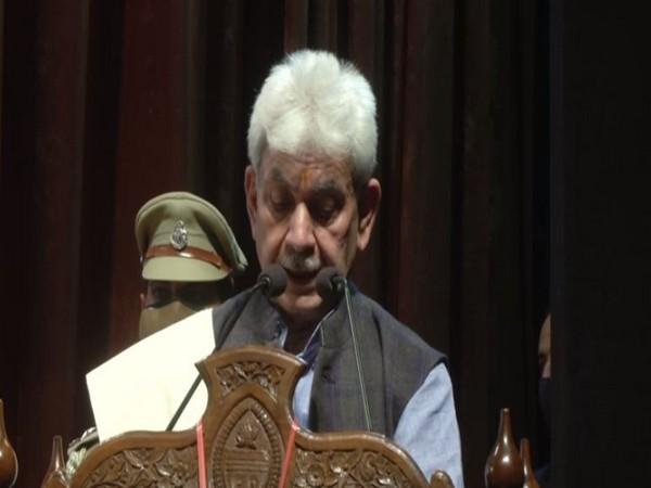 Jammu and Kashmir Lieutenant Governor Manoj Sinha addressing at event on Friday. [Photo/ANI]
