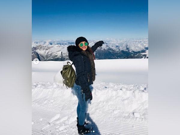 Adaa Khan on top of Mt Titlis, Switzerland