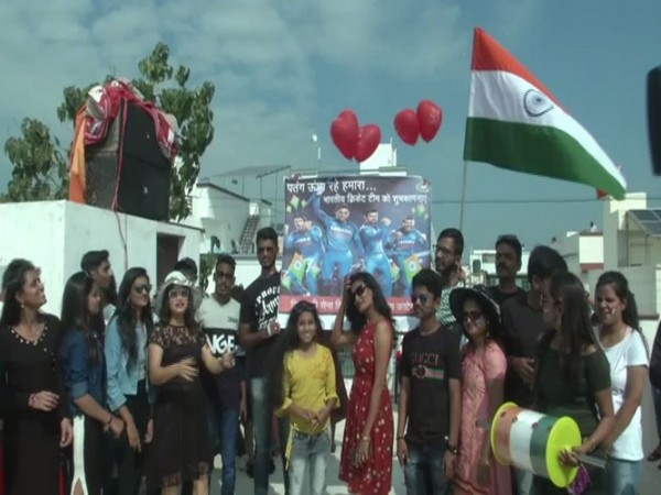 People cheering for team India on Tuesday in Vadodara. Photo/ANI