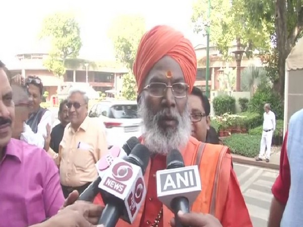 BJP MP Sakshi Maharaj speaking to reporters in new Delhi on Monday. Photo/ANI