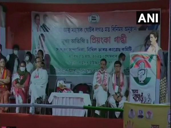 Priyanka Gandhi Vadra addresses a gathering in Assam's Gohpur. [Photo/ANI]