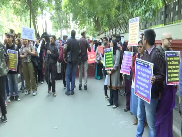 Visual from the protest in Delhi over CAA and NRC on Friday. Photo/ANI