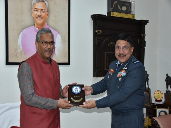 Air Marshal Aravindra Singh Butola paid a courtesy call on Uttarakhand Chief Minister Trivendra Singh Rawat on Friday. (Photo/ANI)