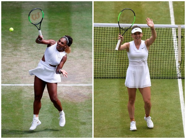 Serena Williams (left); Simona Halep (right)