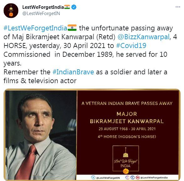Special OPS actor Bikramjeet Kanwarpal dies of COVID-19