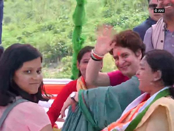 Priyanka Gandh starting her Ganga Yatra on a boat from Prayagraj, Uttar Pradesh, on Monday.