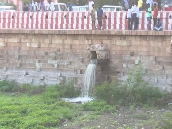 Water being released to Vandiyur Mariamman Teppakulam on Thursday in Madurai. Photo/ANI