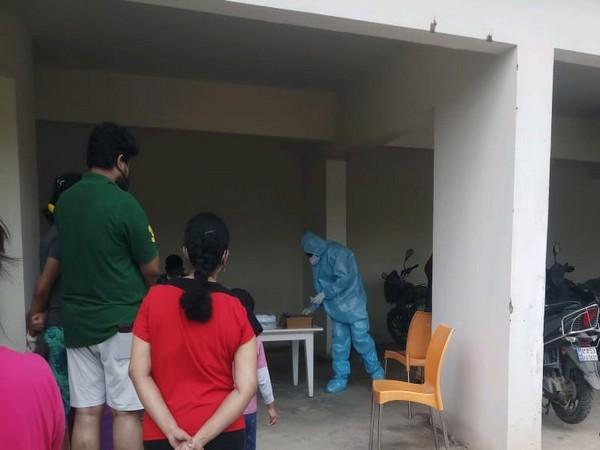 Testing underway at the Bengaluru apartment Complex. (Photo/ANI)