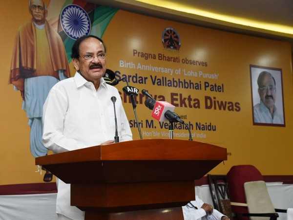 Naidu speaking at a function organised by Pragna Bharati in Hyderabad on Thursday. (Photo/ANI)