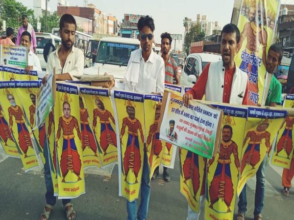 Protest march against alleged government apathy regarding AES in Muzaffarpur (Photo/ANI)