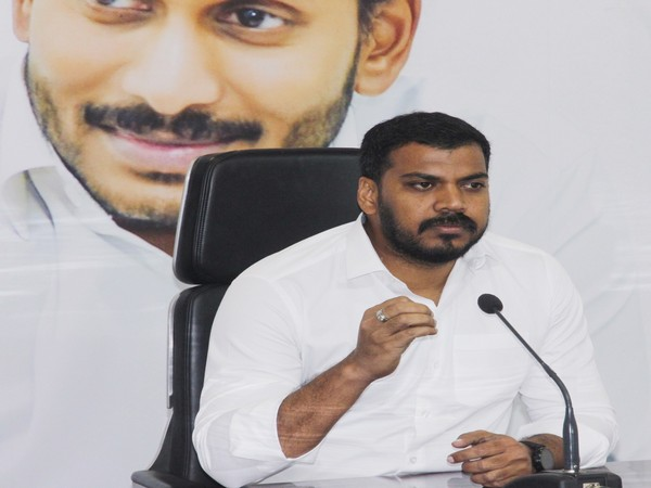 Andhra Pradesh Irrigation Minister P Anil Kumar speaking at a press conference in Amaravati on Tuesday. Photo/ANI