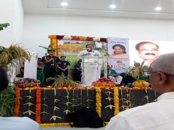 Vice-President M Venkaiah Naidu addresses a gathering in Hyderabad on Sunday. [Photo/ANI]